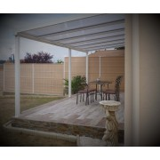 Pergola blanc 8x4 toit polycarbonate opaque