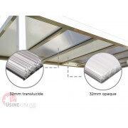 Pergola toit polycarbonate opaque et translucide autoportée