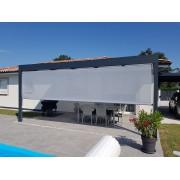 Pergola toit plat 6x4 gris anthracite + store en façade gris clair