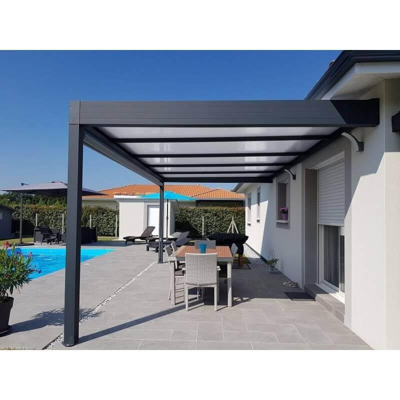 Pergola toit plat gris anthracite 6x4