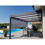 Pergola toit plat 6x4 ral 7016 avec store à guide microperforé façade