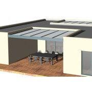 pergola aluminium toit plat entre 3 murs