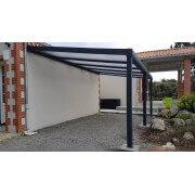 Carport gris foncé 7016 adossé toit polycarbonate