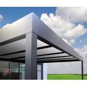 Carport adossé toit plat gris 7016