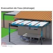 Carport aluminium toit plat écoulement d'eau