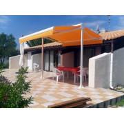 Store double pente solaire toile orange