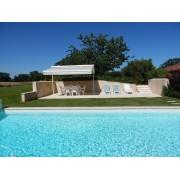 Store double pente solaire terrasse piscine