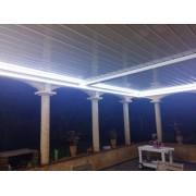 éclairage led pergola bioclimatique adossée 8m