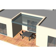 Pergola bioclimatique motorisée lames parallèles entre 3 murs