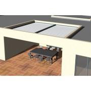 Pergola bioclimatique moteurs verin entre 4 murs