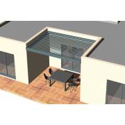 Pergola bioclimatique moteurs verin lames parallèles entre 3 murs