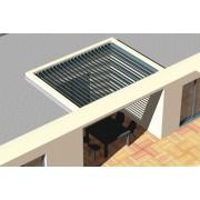 Pergola bioclimatique entre 4 murs lames perpendiculaire