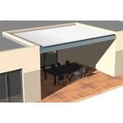 Pergola bioclimatique 6x3 entre 3 murs lames perpendiculaire