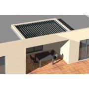 Pergola bioclimatique entre 3 murs lames perpendiculaire