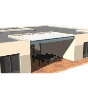 Pergola bioclimatique 6m entre 3 murs lames perpendiculaire