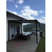 Pergola toile enroulable autoportée 4x4 terrasse bois