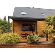 Pergola toile enroulable maison bois dickson micro-perforée