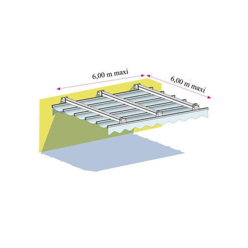 Pergola toile rétractable micro-perforée entre 2 murs