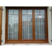 Fenêtre PVC 3 vantaux plaxé chêne doré
