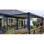Pergola toile enroulable autoportée 4x4 structure bleu
