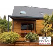 Pergola toile enroulable autoportée maison bois 4x4 gris anthracite