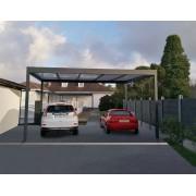 Carport 2 voitures toit plat autoporté