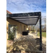 Pergola toit plat polycarbonate opaque 12x4