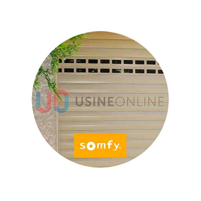 Porte de garage enroulable SOMFY 4x2 beige