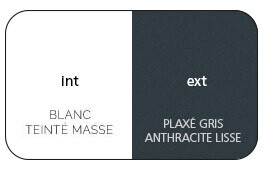 Bicoloration blanc int / gris anthracite lisse ext