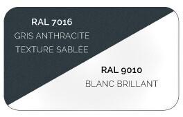 Bicoloration (Structure Gris Anthracite 7016 Structuré Sablé Résistant aux Micro Rayures / Lames Blanc 9010 Brillant Lisse)